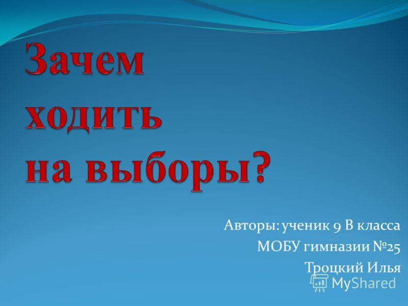 Авторы: ученик 9 В класса МОБУ гимназии 25 Троцкий Илья