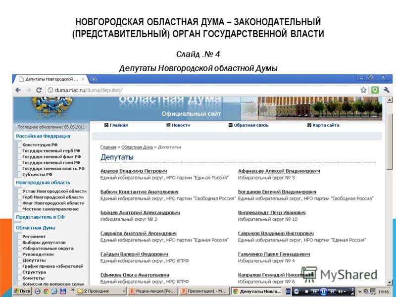 НОВГОРОДСКАЯ ОБЛАСТНАЯ ДУМА – ЗАКОНОДАТЕЛЬНЫЙ (ПРЕДСТАВИТЕЛЬНЫЙ) ОРГАН ГОСУДАРСТВЕННОЙ ВЛАСТИ Слайд. 4 Депутаты Новгородской областной Думы
