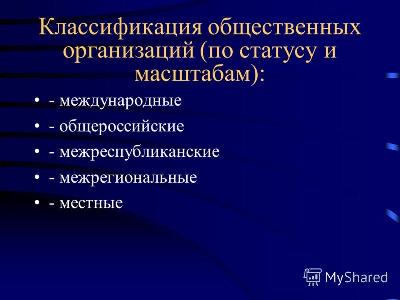 Классификация общественных организаций (по статусу и масштабам): - международные - общероссийские - межреспубликанские - межрегиональные - местные