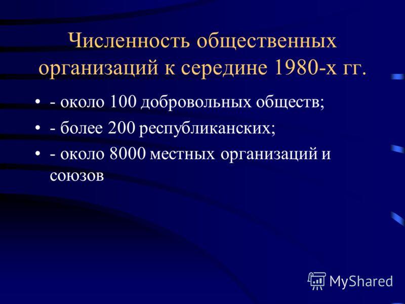 Численность общественных организаций к середине 1980-х гг. - около 100 добровольных обществ; - более 200 республиканских; - около 8000 местных организаций и союзов