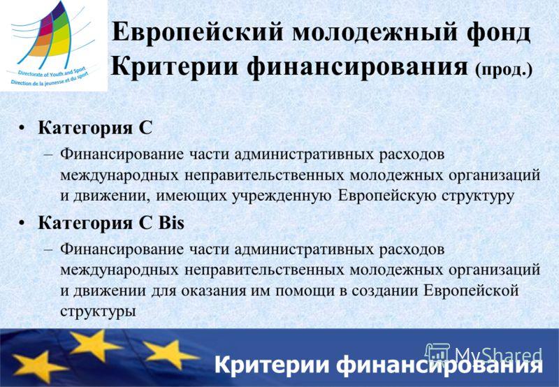 Критерии финансирования Европейский молодежный фонд Критерии финансирования (прод.) Категория C –Финансирование части административных расходов международных неправительственных молодежных организаций и движении, имеющих учрежденную Европейскую струк