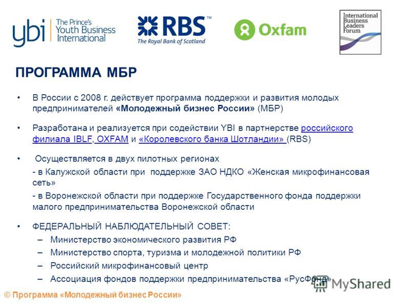 © Программа «Молодежный бизнес России» ПРОГРАММА МБР В России с 2008 г. действует программа поддержки и развития молодых предпринимателей «Молодежный бизнес России» (МБР) Разработана и реализуется при содействии YBI в партнерстве российского филиала