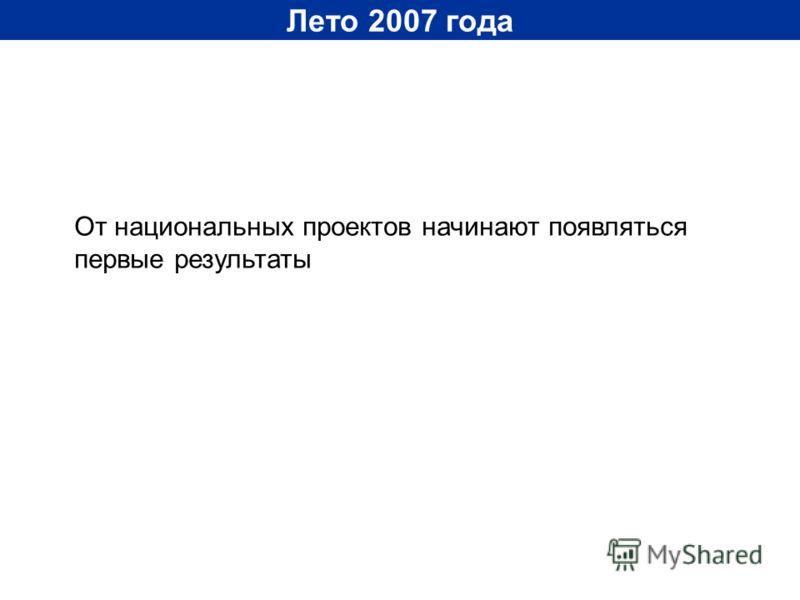Лето 2007 года От национальных проектов начинают появляться первые результаты