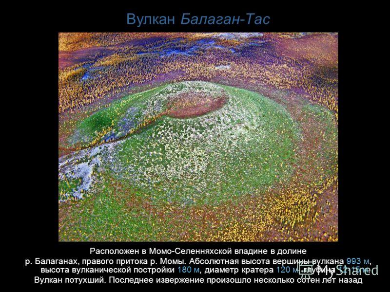 Вулкан Балаган-Тас Расположен в Момо-Селенняхской впадине в долине р. Балаганах, правого притока р. Момы. Абсолютная высота вершины вулкана 993 м, высота вулканической постройки 180 м, диаметр кратера 120 м, глубина 12-15 м. Вулкан потухший. Последне