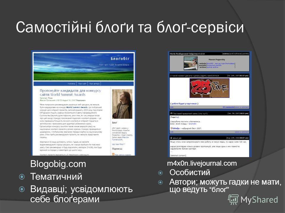 Самостійні блоґи та блоґ-сервіси Blogobig.com Тематичний Видавці; усвідомлюють себе блоґерами m4x0n.livejournal.com Особистий Автори; можуть гадки не мати, що ведуть блоґ