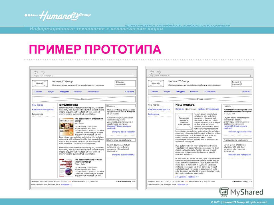 ПРИМЕР ПРОТОТИПА © 2007 | HumanoIT Group. All rights reserved.
