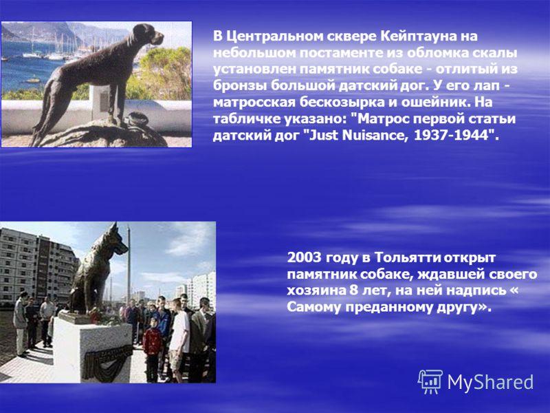Памятники собаке поставлены в нескольких странах. Один из них воздвигнут по настоянию великого русского физиолога И.П.Павлова в 1935 году в Колтушах и назван