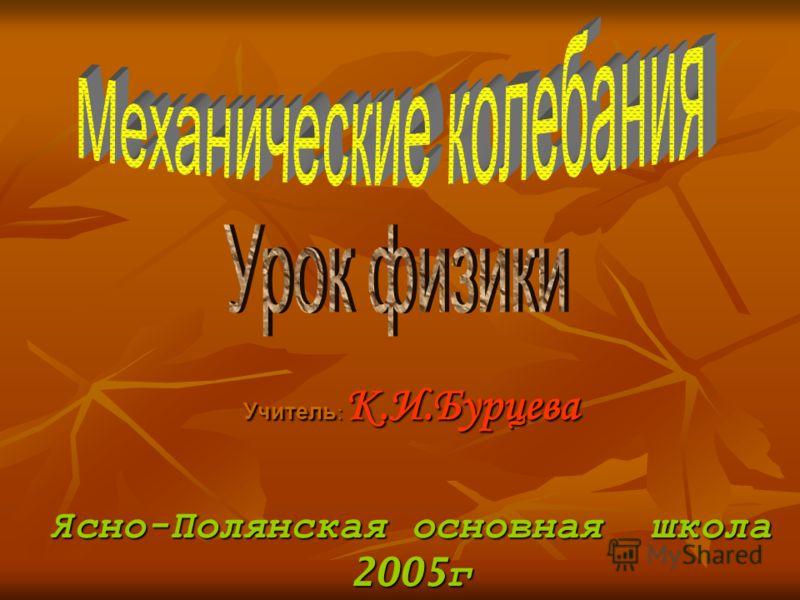 Учитель : К.И.Бурцева Ясно - Полянская основная школа 2005 г