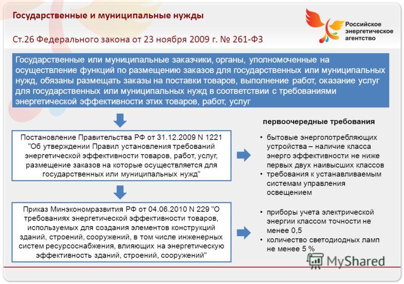 Российское энергетическое агентство Государственные и муниципальные нужды Ст.26 Федерального закона от 23 ноября 2009 г. 261-ФЗ Государственные или муниципальные заказчики, органы, уполномоченные на осуществление функций по размещению заказов для гос