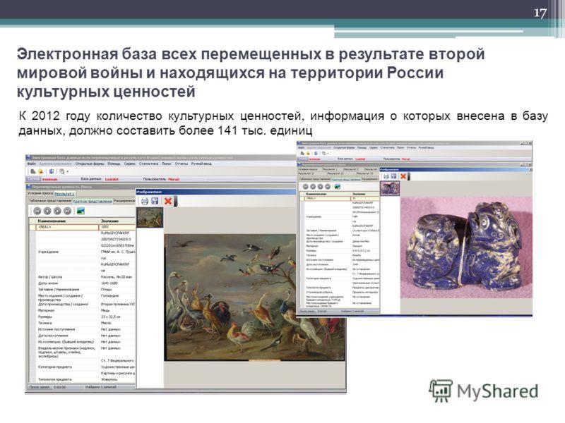17 Электронная база всех перемещенных в результате второй мировой войны и находящихся на территории России культурных ценностей К 2012 году количество культурных ценностей, информация о которых внесена в базу данных, должно составить более 141 тыс. е