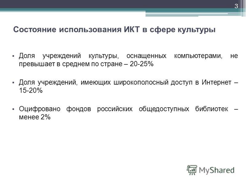 3 Состояние использования ИКТ в сфере культуры Доля учреждений культуры, оснащенных компьютерами, не превышает в среднем по стране – 20-25% Доля учреждений, имеющих широкополосный доступ в Интернет – 15-20% Оцифровано фондов российских общедоступных