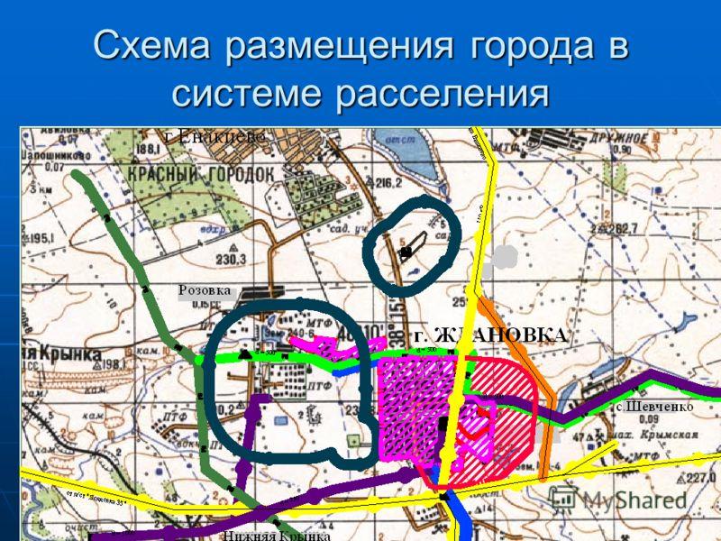 Схема размещения города в системе расселения
