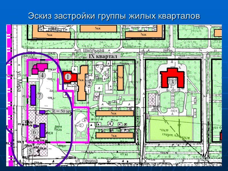 Эскиз застройки группы жилых кварталов