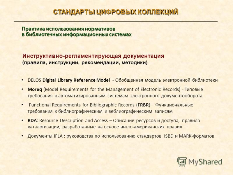 Инструктивно-регламентирующая документация (правила, инструкции, рекомендации, методики) DELOS Digital Library Reference Model - Обобщенная модель электронной библиотеки Moreq (Model Requirements for the Management of Electronic Records) - Типовые тр