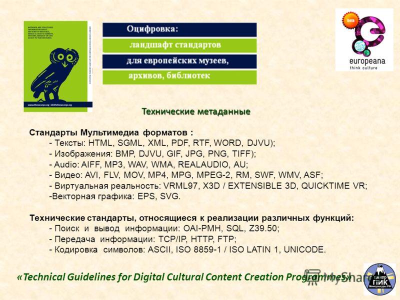 Стандарты Мультимедиа форматов : - Тексты: HTML, SGML, XML, PDF, RTF, WORD, DJVU); - Изображения: BMP, DJVU, GIF, JPG, PNG, TIFF); - Audio: AIFF, MP3, WAV, WMA, REALAUDIO, AU; - Видео: AVI, FLV, MOV, MP4, MPG, MPEG-2, RM, SWF, WMV, ASF; - Виртуальная