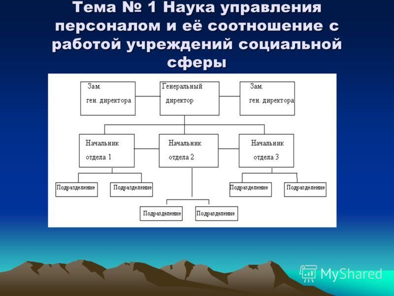 Тема 1 Наука управления персоналом и её соотношение с работой учреждений социальной сферы