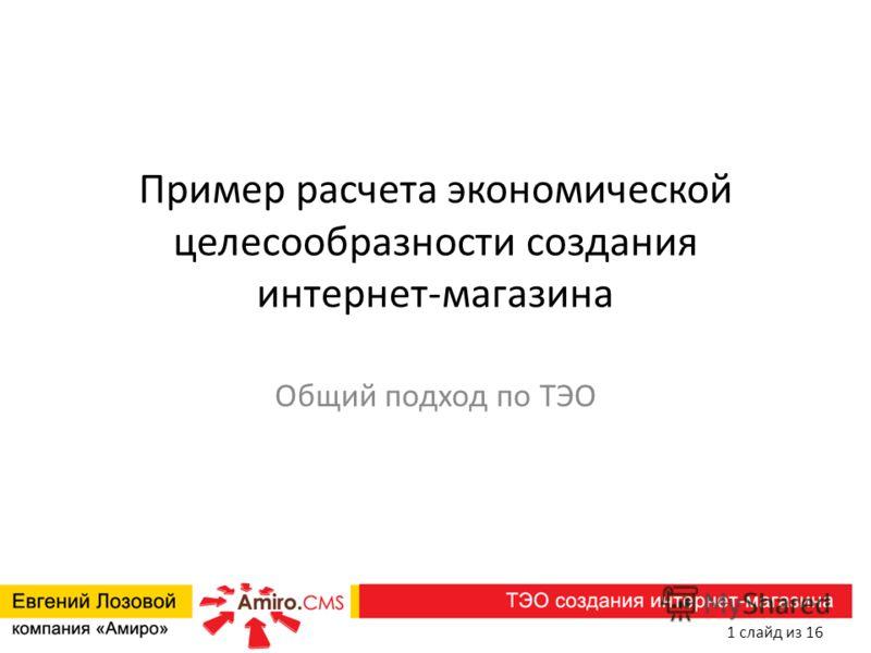 Пример расчета экономической целесообразности создания интернет-магазина Общий подход по ТЭО 1 слайд из 16