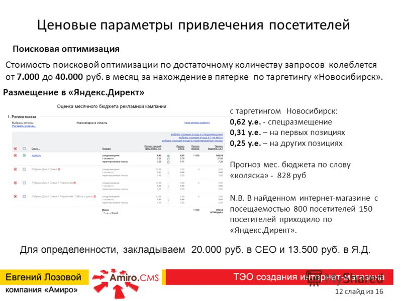Ценовые параметры привлечения посетителей Размещение в «Яндекс.Директ» с таргетингом Новосибирск: 0,62 у.е. - спецразмещение 0,31 у.е. – на первых позициях 0,25 у.е. – на других позициях Прогноз мес. бюджета по слову «коляска» - 828 руб N.B. В найден