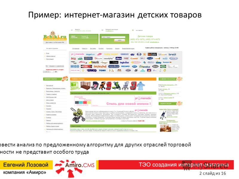 Пример: интернет-магазин детских товаров N.B. Провести анализ по предложенному алгоритму для других отраслей торговой деятельности не представит особого труда 2 слайд из 16
