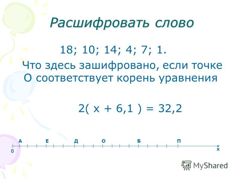 Расшифровать слово 18; 10; 14; 4; 7; 1. Что здесь зашифровано, если точке О соответствует корень уравнения 2( х + 6,1 ) = 32,2 А Е Д О Б П х 0