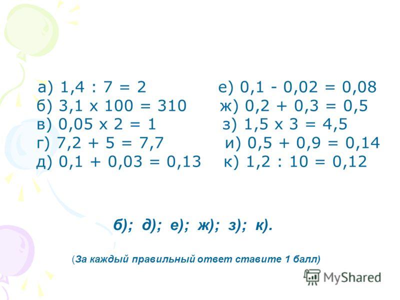 а) 1,4 : 7 = 2 е) 0,1 - 0,02 = 0,08 б) 3,1 х 100 = 310 ж) 0,2 + 0,3 = 0,5 в) 0,05 х 2 = 1 з) 1,5 х 3 = 4,5 г) 7,2 + 5 = 7,7 и) 0,5 + 0,9 = 0,14 д) 0,1 + 0,03 = 0,13 к) 1,2 : 10 = 0,12 б); д); е); ж); з); к). (За каждый правильный ответ ставите 1 балл