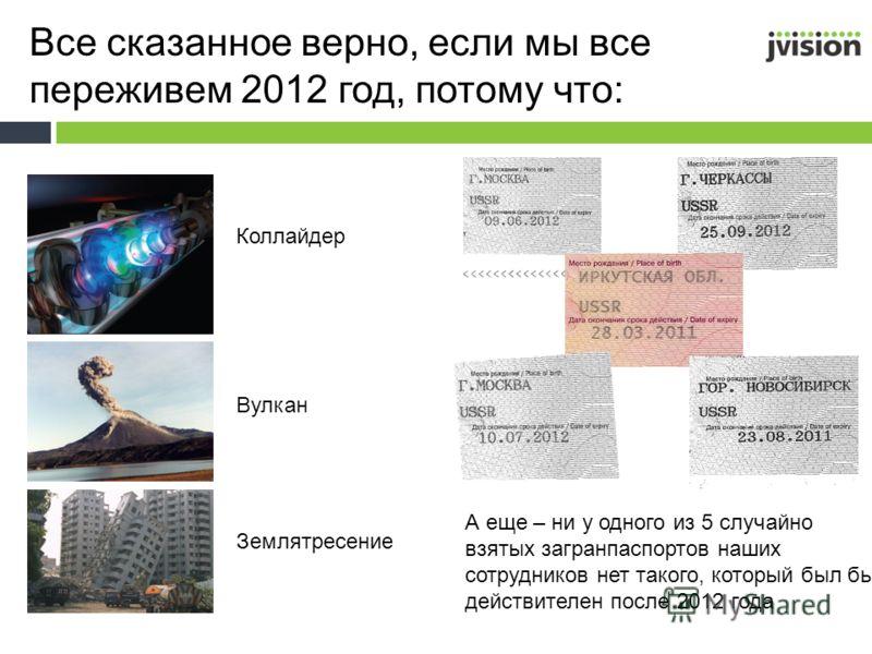 Все сказанное верно, если мы все переживем 2012 год, потому что: Коллайдер Вулкан Землятресение А еще – ни у одного из 5 случайно взятых загранпаспортов наших сотрудников нет такого, который был бы действителен после 2012 года