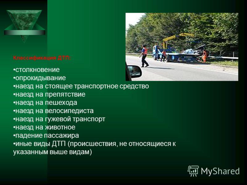 Классификация ДТП: столкновение опрокидывание наезд на стоящее транспортное средство наезд на препятствие наезд на пешехода наезд на велосипедиста наезд на гужевой транспорт наезд на животное падение пассажира иные виды ДТП (происшествия, не относящи