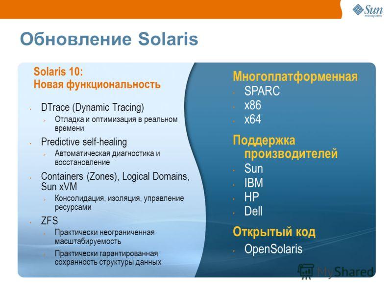 Обновление Solaris DTrace (Dynamic Tracing) > Отладка и оптимизация в реальном времени Predictive self-healing > Автоматическая диагностика и восстановление Containers (Zones), Logical Domains, Sun xVM > Консолидация, изоляция, управление ресурсами Z