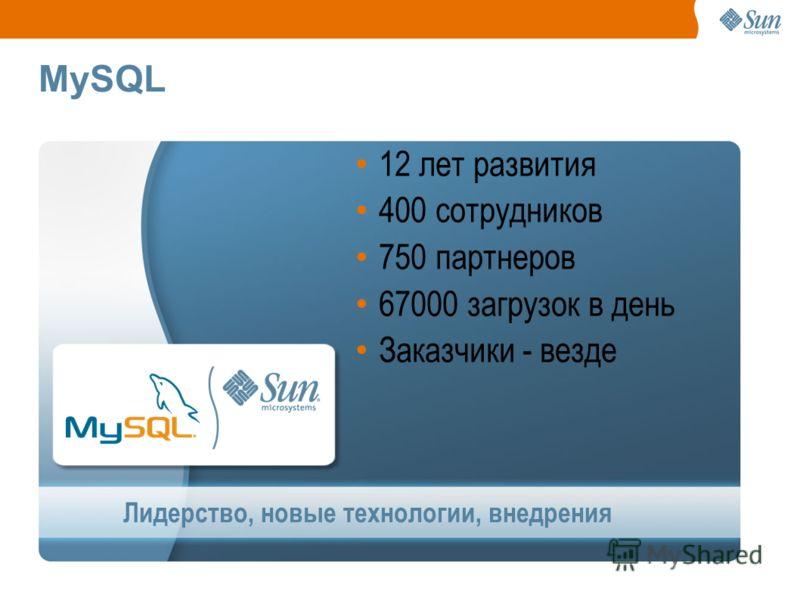MySQL Лидерство, новые технологии, внедрения 12 лет развития 400 сотрудников 750 партнеров 67000 загрузок в день Заказчики - везде