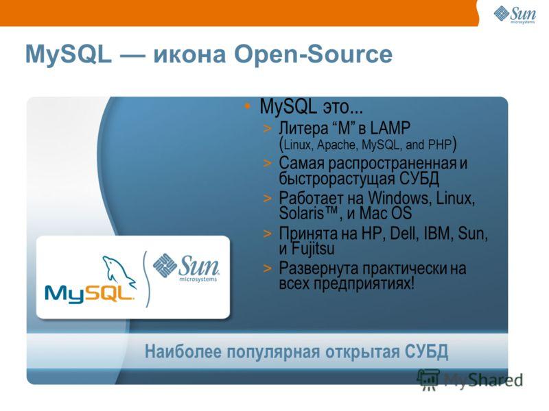 Наиболее популярная открытая СУБД MySQL икона Open-Source MySQL это... > Литера M в LAMP ( Linux, Apache, MySQL, and PHP ) > Самая распространенная и быстрорастущая СУБД > Работает на Windows, Linux, Solaris, и Mac OS > Принята на HP, Dell, IBM, Sun,