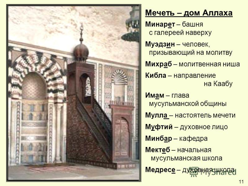 Мечеть – дом Аллаха Минарет – башня с галереей наверху Муэдзин – человек, призывающий на молитву Михраб – молитвенная ниша Кибла – направление на Каабу Имам – глава мусульманской общины Мулла – настоятель мечети Муфтий – духовное лицо Минбар – кафедр
