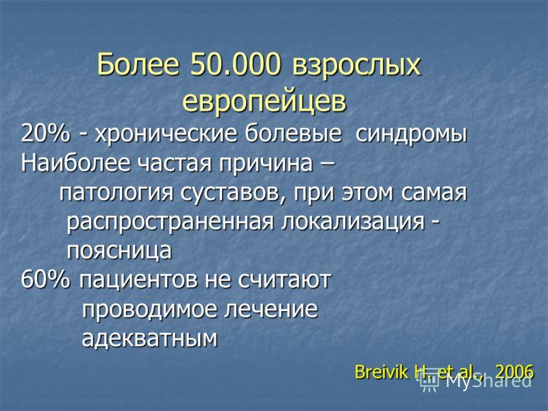 Более 50.000 взрослых европейцев 20% - хронические болевые синдромы Наиболее частая причина – патология суставов, при этом самая распространенная локализация - поясница 60% пациентов не считают проводимое лечение адекватным Breivik H. et al., 2006 Бо