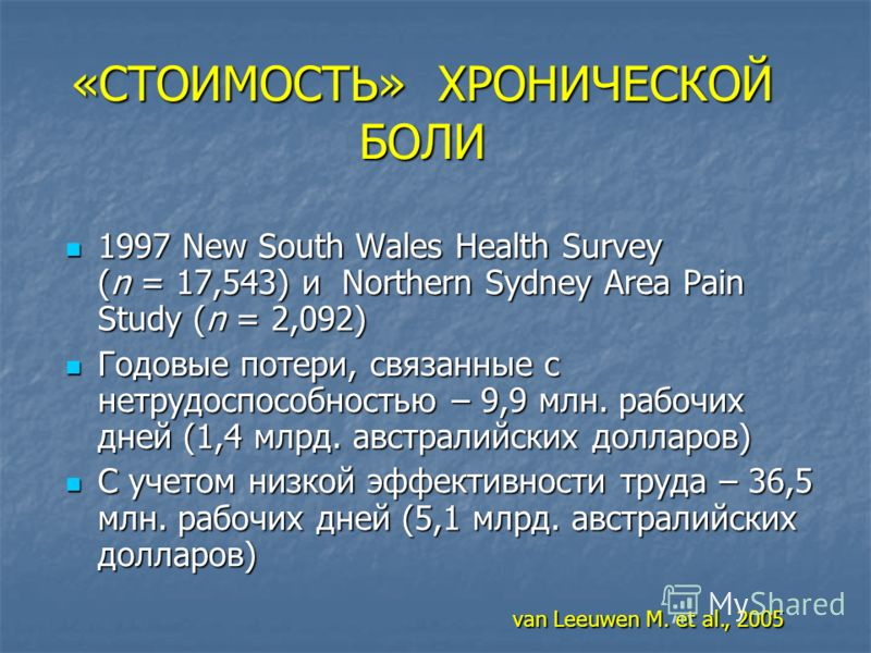 «СТОИМОСТЬ» ХРОНИЧЕСКОЙ БОЛИ 1997 New South Wales Health Survey (n = 17,543) и Northern Sydney Area Pain Study (n = 2,092) 1997 New South Wales Health Survey (n = 17,543) и Northern Sydney Area Pain Study (n = 2,092) Годовые потери, связанные с нетру