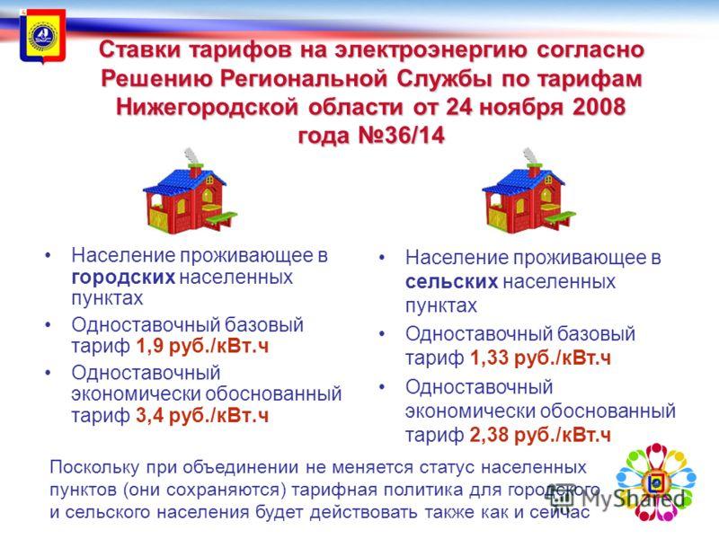 Ставки тарифов на электроэнергию согласно Решению Региональной Службы по тарифам Нижегородской области от 24 ноября 2008 года 36/14 Население проживающее в городских населенных пунктах Одноставочный базовый тариф 1,9 руб./кВт.ч Одноставочный экономич