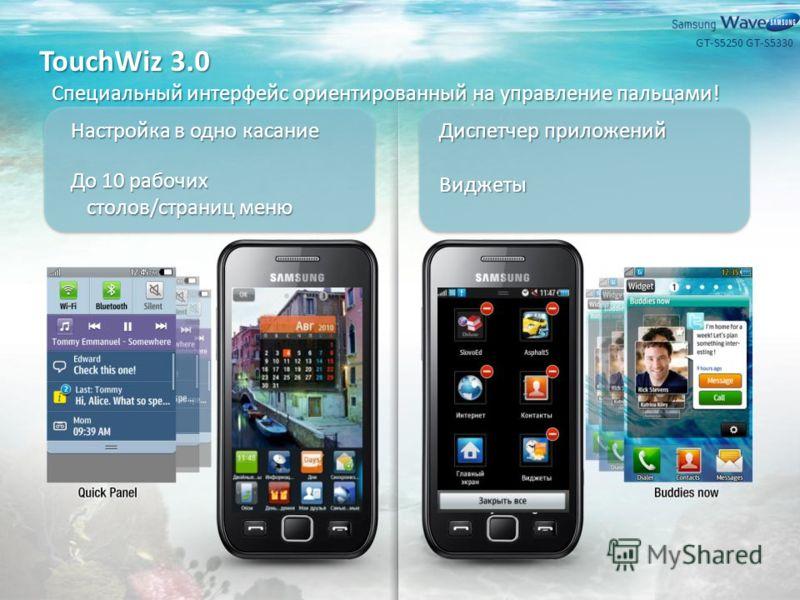 TouchWiz 3.0 Специальный интерфейс ориентированный на управление пальцами! Настройка в одно касание До 10 рабочих столов/страниц меню Диспетчер приложений Виджеты GT-S5330GT-S5250