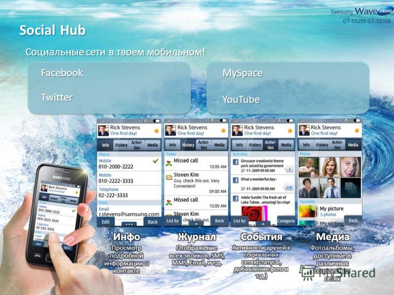 Social Hub Социальные сети в твоем мобильном! Facebook Twitter MySpace YouTube GT-S5330GT-S5250