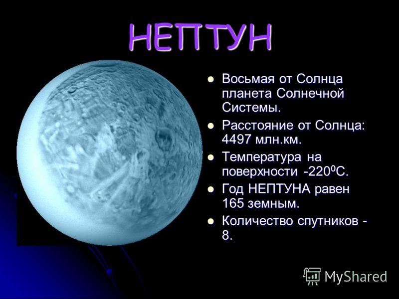 УРАН Седьмая от Солнца планета Солнечной Системы. Седьмая от Солнца планета Солнечной Системы. Расстояние от Солнца: 2869 млн.км. Расстояние от Солнца: 2869 млн.км. Температура на поверхности -210 0 С. Температура на поверхности -210 0 С. Год УРАНА р