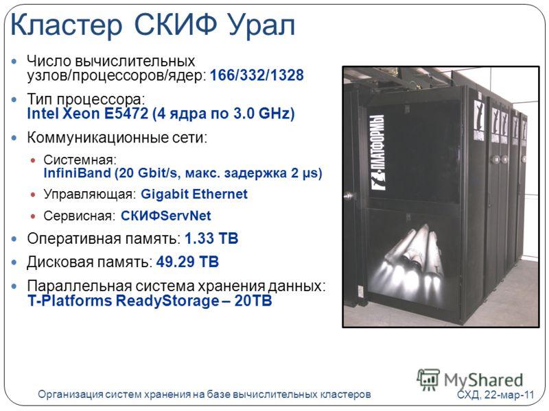 Кластер СКИФ Урал Число вычислительных узлов/процессоров/ядер: 166/332/1328 Тип процессора: Intel Xeon E5472 (4 ядра по 3.0 GHz) Коммуникационные сети: Системная: InfiniBand (20 Gbit/s, макс. задержка 2 µs) Управляющая: Gigabit Ethernet Сервисная: СК