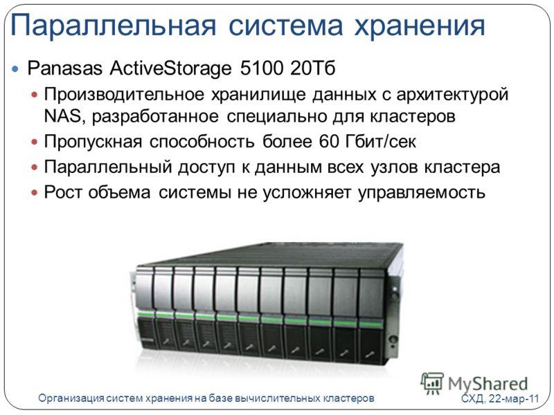 Параллельная система хранения Panasas ActiveStorage 5100 20Тб Производительное хранилище данных с архитектурой NAS, разработанное специально для кластеров Пропускная способность более 60 Гбит/сек Параллельный доступ к данным всех узлов кластера Рост