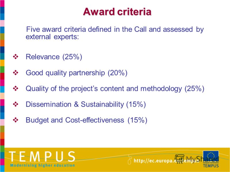 Award criteria Five award criteria defined in the Call and assessed by external experts: Relevance (25%) Good quality partnership (20%) Quality of the projects content and methodology (25%) Dissemination & Sustainability (15%) Budget and Cost-effecti