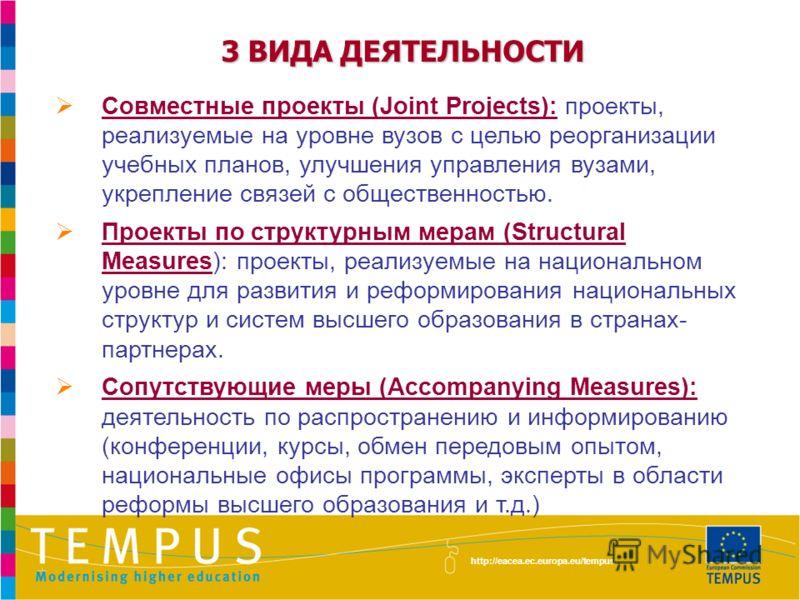 3 ВИДА ДЕЯТЕЛЬНОСТИ Совместные проекты (Joint Projects): проекты, реализуемые на уровне вузов с целью реорганизации учебных планов, улучшения управления вузами, укрепление связей с общественностью. Проекты по структурным мерам (Structural Measures):