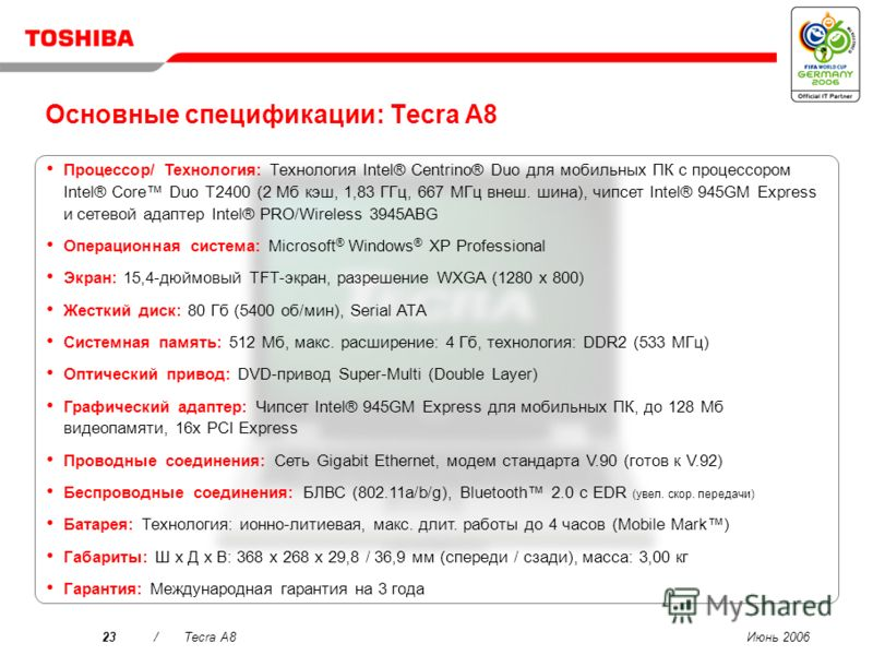 Июнь 200622/Tecra A8 Toshiba Summit Эффективная функциональность беспроводных конференций, включая обмен файлами и чат для повышения продуктивности работы. …Интуитивность использования Создайте виртуальный