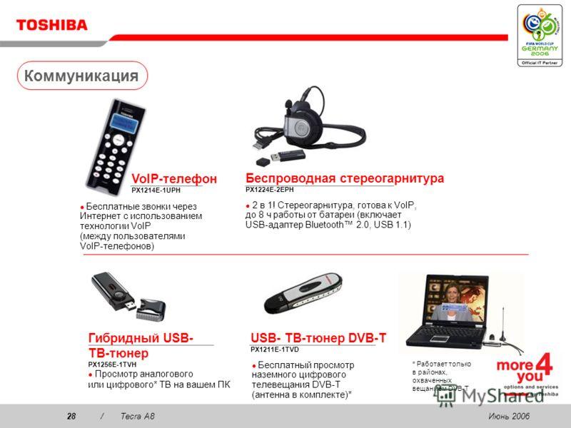 Июнь 200627/Tecra A8 256/512 Мб / 1/2 Гб память PC2 DDR2 (667 МГц) PA3499U-1M25 (256 Мб) PA3511U-1M51 (512 Мб) PA3512U-1M1G (1 Гб) PA3513U-1M2G (2 Гб) 80/120 Гб мини- жесткий диск PX1217E-1G08 (80 Гб, 2 Мб кэш) PX1283E-1G08 (80 Гб, 8 Мб кэш) PX1282E-