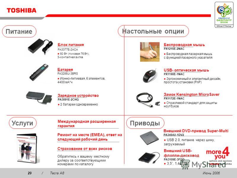 Июнь 200628/Tecra A8 Коммуникация Беспроводная стереогарнитура PX1224E-2EPH 2 в 1! Стереогарнитура, готова к VoIP, до 8 ч работы от батареи (включает USB-адаптер Bluetooth 2.0, USB 1.1) VoIP-телефон PX1214E-1UPH Бесплатные звонки через Интернет с исп