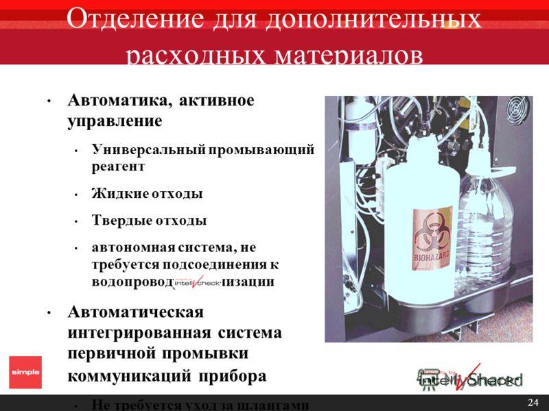 24 Отделение для дополнительных расходных материалов Автоматика, активное управление Универсальный промывающий реагент Жидкие отходы Твердые отходы автономная система, не требуется подсоединения к водопроводу/канализации Автоматическая интегрированна