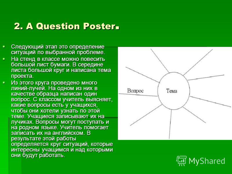 2. A Question Poster. Следующий этап это определение ситуаций по выбранной проблеме. На стенд в классе можно повесить большой лист бумаги. В середине листа большой круг и написана тема проекта. Из этого круга проведено много линий-лучей. На одном из