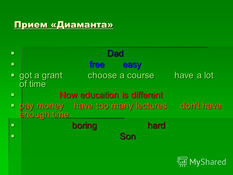 Прием «Диаманта» Dad Dad free easy free easy got a grant choose a course have a lot of time got a grant choose a course have a lot of time Now education is different Now education is different pay money have too many lectures don't have enough time p