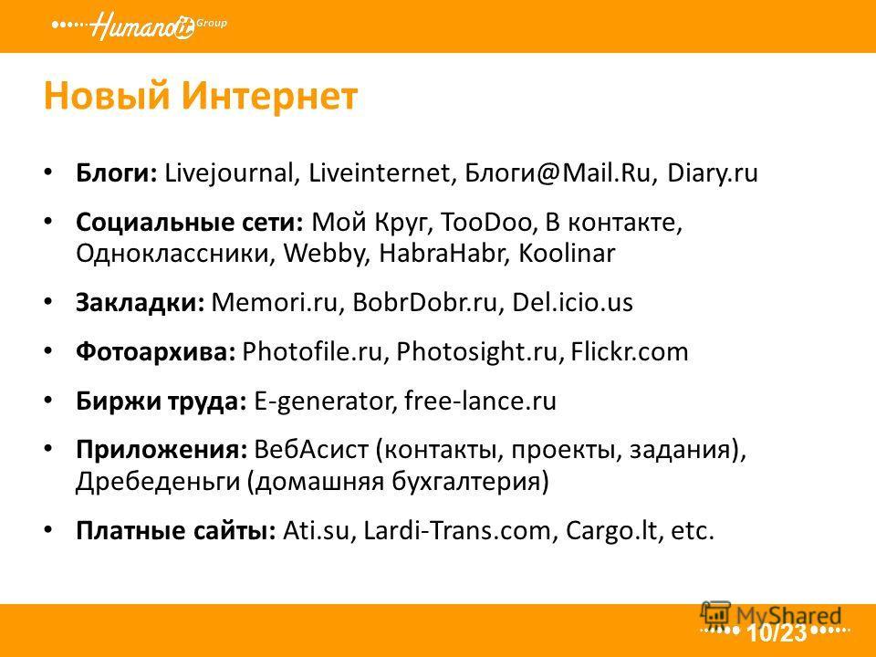 Новый Интернет 10/23 Блоги: Livejournal, Liveinternet, Блоги@Mail.Ru, Diary.ru Социальные сети: Мой Круг, TooDoo, В контакте, Одноклассники, Webby, HabraHabr, Koolinar Закладки: Memori.ru, BobrDobr.ru, Del.icio.us Фотоархива: Photofile.ru, Photosight