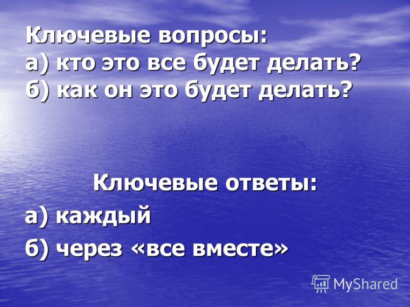 Ключевые вопросы: а) кто это все будет делать? б) как он это будет делать? Ключевые ответы: а) каждый б) через «все вместе»