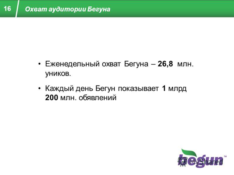 Охват аудитории Бегуна Еженедельный охват Бегуна – 26,8 млн. уников. Каждый день Бегун показывает 1 млрд 200 млн. обявлений 16